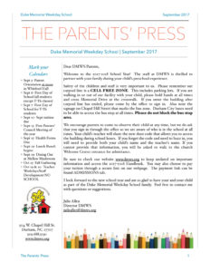 The Parents Press, DMWS News - Duke Memorial Weekday School News