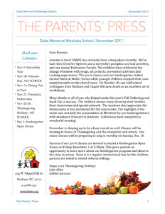Duke Memorial Weekday School News - Parents Press, November 2017