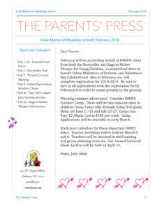 Parents Press February 2018 - Duke Memorial Weekday School News
